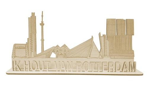 "Skyline van Rotterdam 3D met tekst ""Ik hout van Rotterdam"""